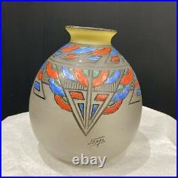 JOMA Vase en verre opalescent à motifs cubistes Art Déco (1930 France)