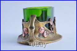 Jardinière Bronze verre Art Déco Art nouveau Jugendstil 1920 vase bauhaus