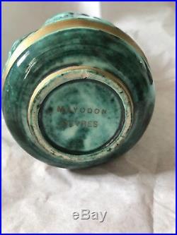 Jean MAYODON Sèvres Vase Art Deco Scènes Antiques Émaux Or French Ceramic Art