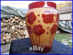 Joli Grand Vase Verre Marmoreen Degage A L'acide Decors Cardamines Signe