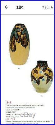 Joli Vase art deco 1928 Gres Keramis Charles Catteau répertorié Drouot