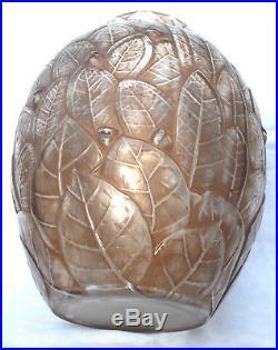 Joli et rare vase art-deco Hunebelle feuilles mortes, era daum lalique muller