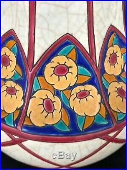 Jolie Paire De Vases En Emaux De Longwy Epoque Art Deco Signés