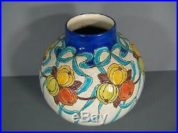 Keramis Charles Catteau Ancien Vase Boule Style Art Déco Fruits Stylisés