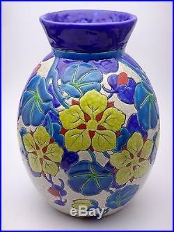Keramis royal Boch la Louvière vase à décor floral époque Art déco