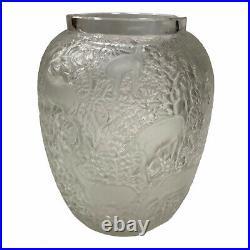 LALIQUE Vase verre à décor de Biches Art Deco (1932)