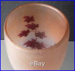 LEGRAS Gd vase art deco gravé acide et émaillé serie rubis irisé 39,5cm