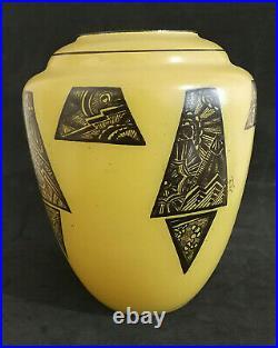 LEGRAS, Vase jaune à décor art déco, H 20 cm