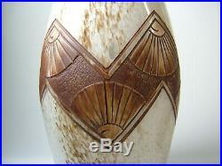 LEGRAS ancienne paire de vases Art Déco, décor gravé à l'acide