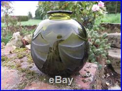 LEGRAS vase boule ART-DECO décor dégagé à l'ACIDE couleur FUME en très bon état