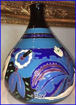 LONGWY Vase Primavera. Art Déco. Rare