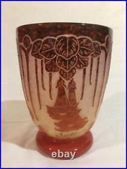 Le Verre Français Charder Vase Aux Daturas Époque Art Déco