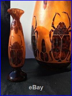 Le Verre Français Énorme Vase Scarabées 1919/1922 Art Déco Gallé Daum