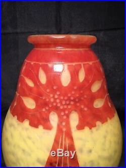 Le Verre Français Vase Amarantes 1923/1926 Art Déco gallé daum lalique