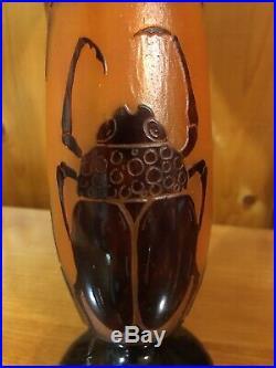 Le Verre Français Vase Aux Scarabées 1919/1922 Art Déco gallé daum