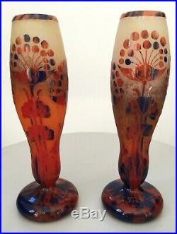 Le Verre Français belle paire de vases modèle ombelles Art Deco schneider Daum