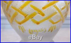 Legras vase art déco émaillé jaune fond givré signé