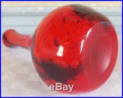 Legras vase fond rouge moucheté art déco signé