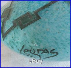 Legras vase pate de verre art déco turquoise signé