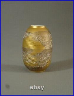Limoges Lazeyras Beau Vase Art Deco Ovoide, Porcelaine Tachée D'or, Vers 1930