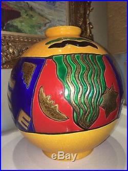 Longwy Grand Vase Boule H 38cms Dessin Pedro Sanchez Modèle Art Déco Numeroté