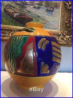 Longwy Vase Boule H 38cms Pedro Sanchez Semantique Art Deco