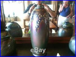 Lot de trois vases montieres irisé art deco