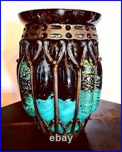 MAGNIFIQUE VASE DAUM NANCY et Louis MAJORELLE Vase en verre soufflé vert et or