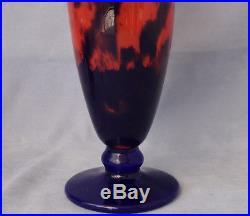 MULLER FRERES LUNEVILLE Grand Vase Fuseau Art Déco 1920-1930