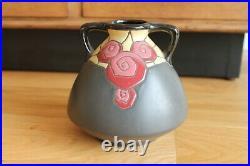 Magnifique Céramique Vase Signée Montières Amiens Motif Art déco Floral Fleurs