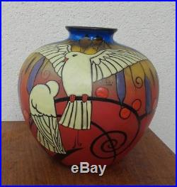 Magnifique Et Grand Vase Decor Oiseaux Colombes Signe Clio Art Deco