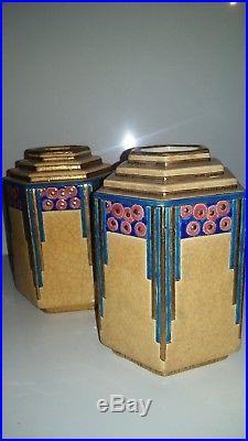 Magnifique Paire De Vases Longwy Art Deco