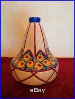 Magnifique et rare grand vase ancien en émaux de Longwy art déco