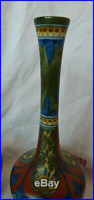 Magnifique paire de vases en faïence de Hollande Gouda art déco 1920
