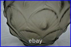 Marius Sabino Rare Vase boule Art Déco Verre fumé Les Plumes 1930