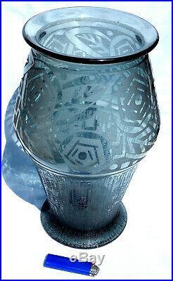Monumental et superbe vase art-deco DAUM roses stylisées era galle lalique