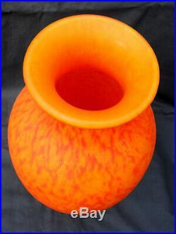 Monumental vase DELATTE art-deco, 42 cm, parfait, era daum muller 1900