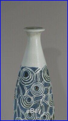 Mougin Nancy, Grand Vase Bouteille En Grès émaillé, Décor De Fleurs, Art Déco