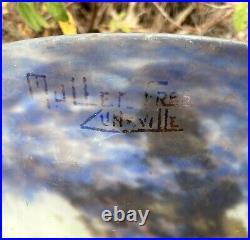 Muller Frères Luneville Grand Vase En Pte De Verre Pied En Fer Forgé Art Déco