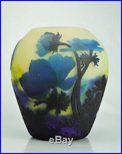 Muller Frères Lunéville Rare Vase Anémones Pâte d Verre Gravé Art Déco Gallé