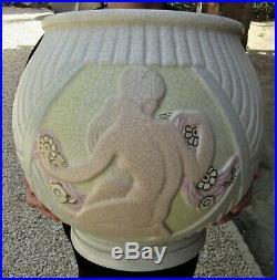 Orchies & LejanEnorme vase d'époque art deco nus fémininsCraquelé polychrome