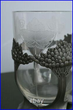 Orivit Vase Art Deco 1930 En Cristal Et Pied En Étain
