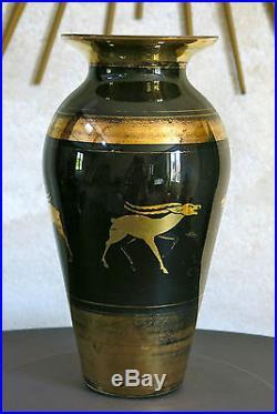 PAIRE de VASES, art déco, gazelle, antilope, verre, églomisé TRÈS JOLIS VASES