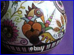 PAUL FOUILLEN-QUIMPER-très gros vase ART DECO aux oiseaux signé 30,5cm de haut