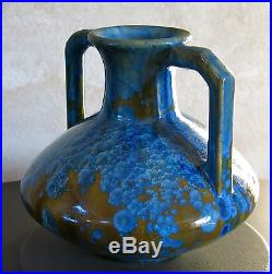 PIERREFONDS, superbe céramique, vase, céramique métallisée, émaillée, ART DECO