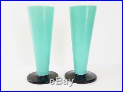 Paire De Vases Art Deco 1920 1930 En Opaline Verre Opalin Vintage 20's 30's