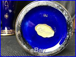 Paire De Vases Art Deco Faïence De Tours Décor Doré / Bleu De Sévres 1925 Signé