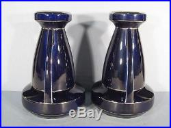 Paire De Vases Art Déco Fives Lille / Vase Art Déco Céramique Bleu / Vase 1930