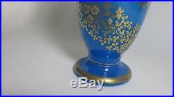 Paire De Vases Balustre Opaline Bleue Baccarat Rare Pair Of Baccarat Vases Blue