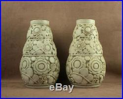 Paire De Vases Ceramique Art Deco Gres Mougin Nancy Modele De Ventrillon Lejeune